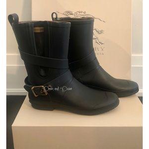 Burberry Brain Mid Buckley Black Rain Boot…